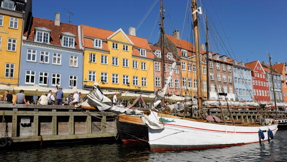 Colourful waterfront views in Nyhavn, Copenhagen