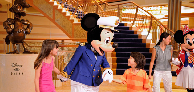 Young guests with Mickey onboard Disney Dream.