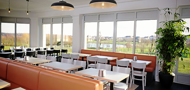 Enjoy views over the lake when dining in the hotel restaurant.