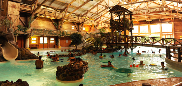 Splash around in the themed indoor pool, with water slides for kids