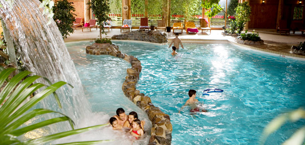 Enjoy the indoor pool with slides and waterfall, river stream and whirlpool