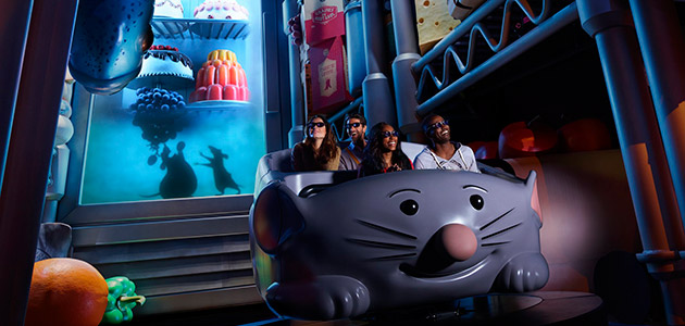 Shrink down to the size of Remy and feast your senses on a 4D experience at Ratatouille: The Adventure