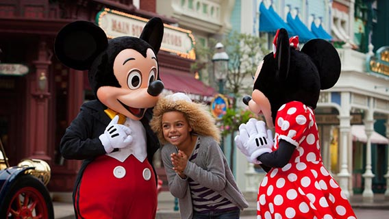 Have fun with Minnie and Mickey Mouse on Main Street, U.S.A.