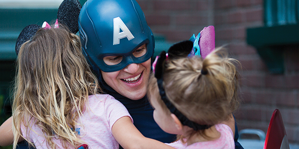 Captain America with young guests at Disneyland Paris
