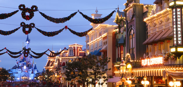 Main Street U.S.A. lit up with Christmas decorations for the holiday season