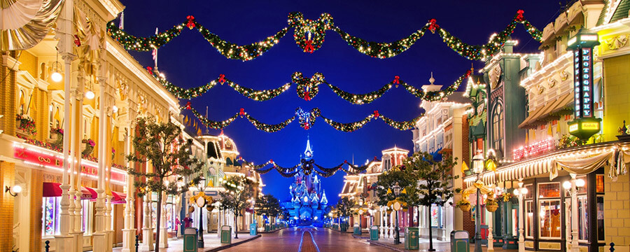 christmas lights and decorations on main street usa
