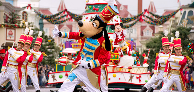 Join some of your favourite Disney Characters for Christmas celebrations at Disneyland Paris.