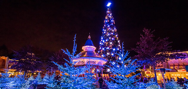 christmas tree and decorations on main street usa