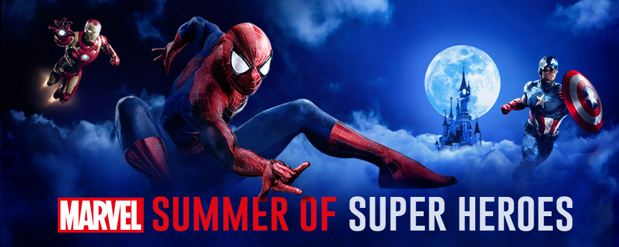 Marvel Summer of Super Heroes image featuring Spider-Man, Iron Man and Captain America at Disneyland Paris