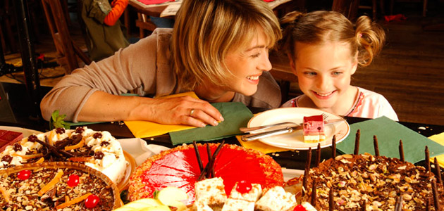 The restaurants offer a variety of dishes, including sweet treats