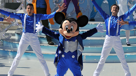 Mickey Mouse and performers during the Happy Anniversary Disneyland Paris show.