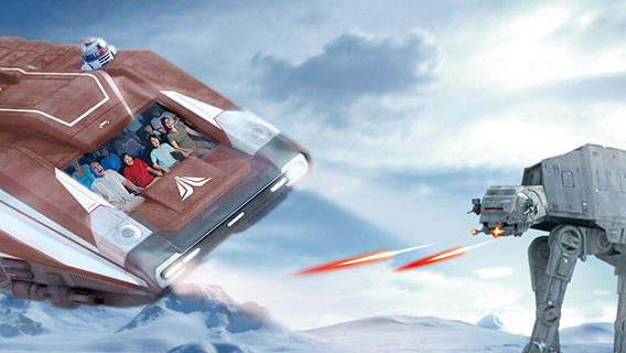 Journey to a galaxy far, far away in the new Star Tours: The Adventures Continue.