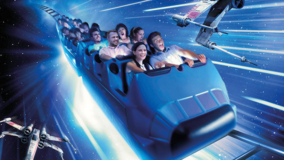 Enjoy Space Mountain with a Star Wars twist in Star Wars Hyperspace Mountain.