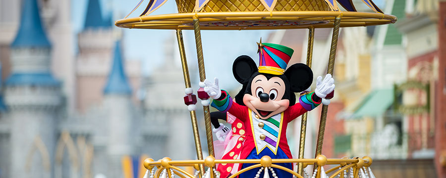 Mickey Mouse at the Festival of Fantasy Parade in Magic Kingdom