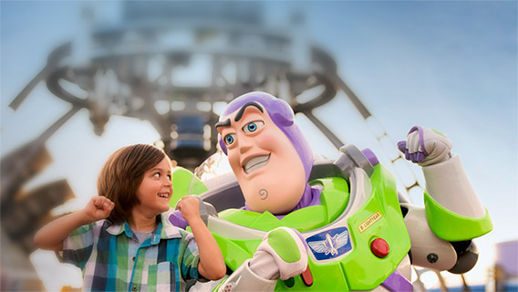 Little boy with Buzz Lightyear in Tomorrowland, Magic Kingdon