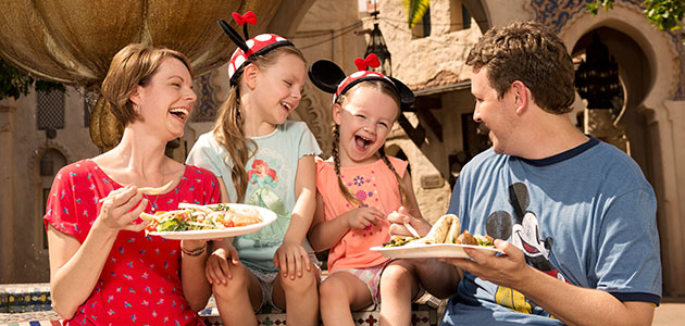 Family dining at Morocco Pavillion at Epcot.