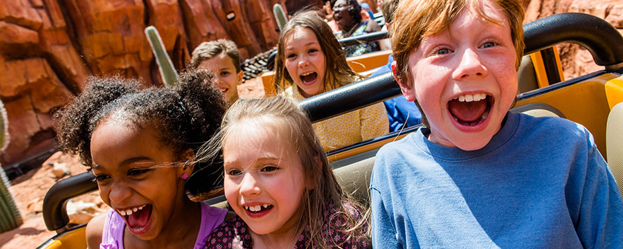 Young guests on Big Thunder Mountain in Magic Kingdom