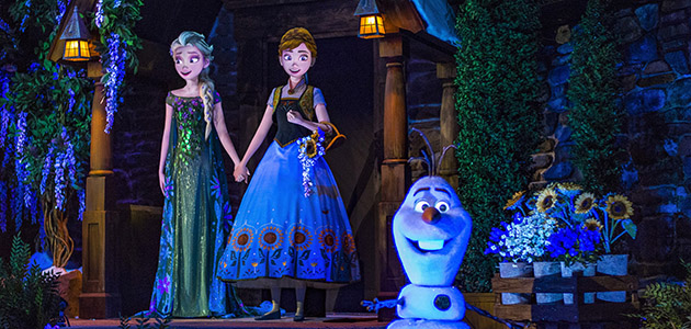 Elsa, Anna and Olaf in Frozen Ever After at Epcot.