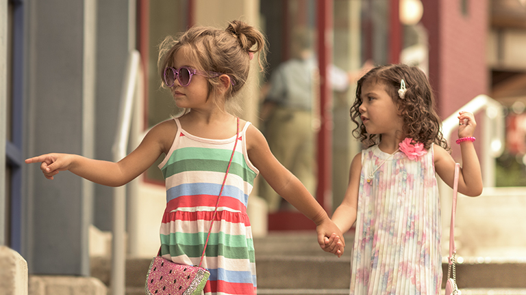 Young guests taking in the sights at Disney Springs