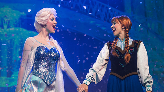 Anna and Elsa in For the First Time in Forever: A Frozen Sing-Along Celebration at Disney's Hollywood Studios