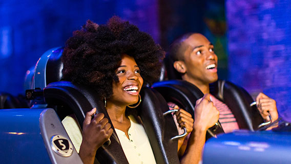 Guests on Rock 'n' Roller Coaster at Disney's Hollywood Studios