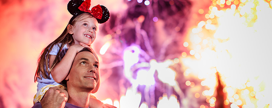 Little girl with father watching the fireworks at Magic Kingdom