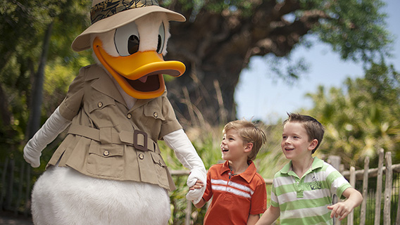 Little boys meet Donald Duck at Disney's Animal Kingdom Theme Park