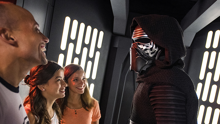 Father with daughters meeting Kylo Ren at Disney's Hollywood Studios