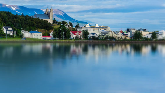 Reflections on the water in Akureyri, North Iceland.