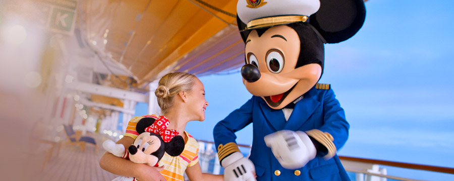Captain Mickey with girl on deck
