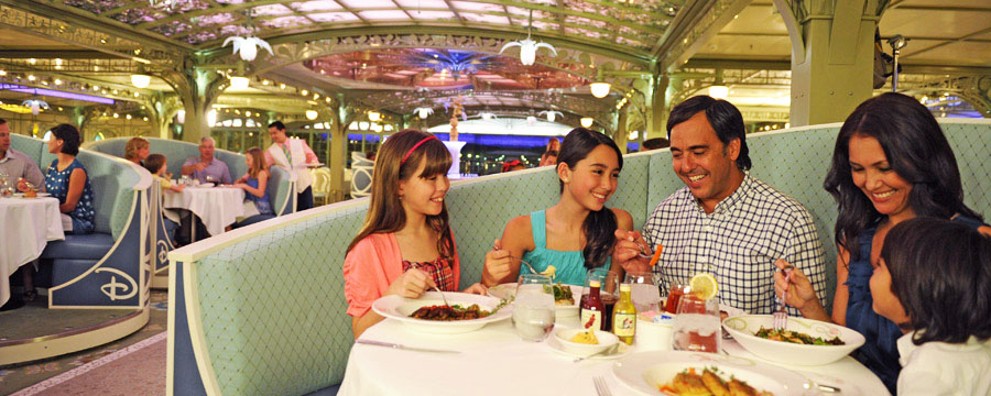 The elegant Enchanted Garden restaurant onboard Disney Dream