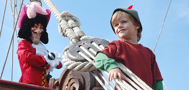 On board the Pirate Galleon with Captain Hook