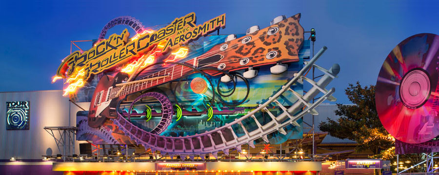 Crank up the volume with a ride on the Rock 'n' Roller Coaster