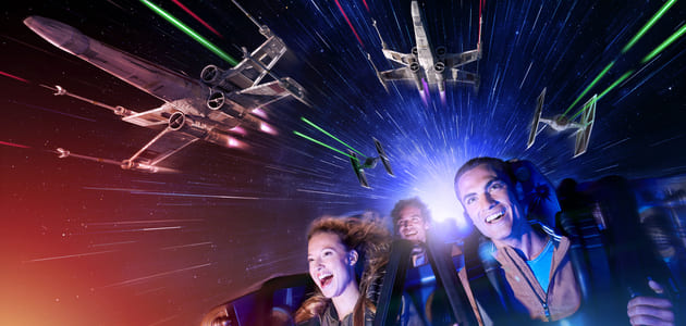 Feel the force on Star Wars: Hyperspace Mountain.