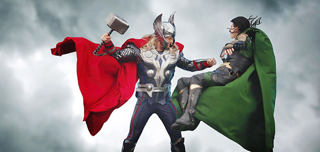 Thor battling Loki in Stark Expo Presents: Energy for Tomorrow