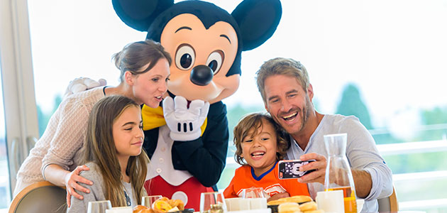 Grab a selfie with Mickey and friends when you enjoy a character dining experience