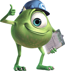 Mike Wazowski smiling, holding his checklist