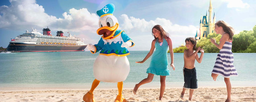 Children dance on the beach with Donald Duck