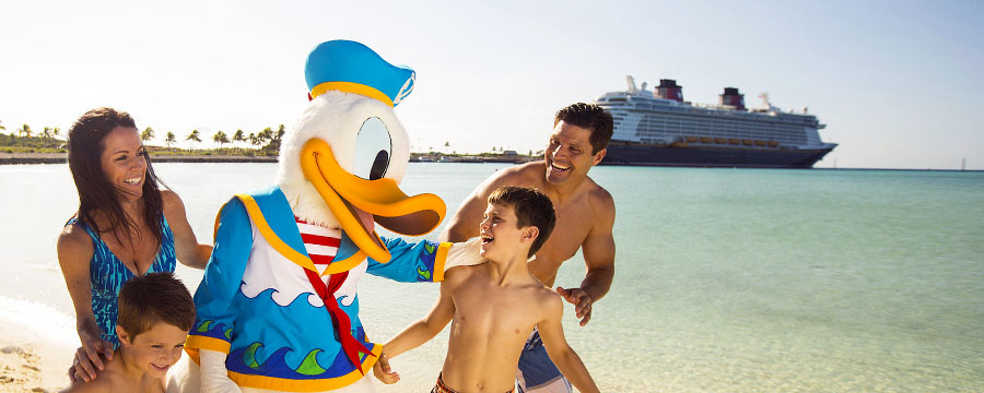 Family with Donald Duck on Disney's Castaway Cay