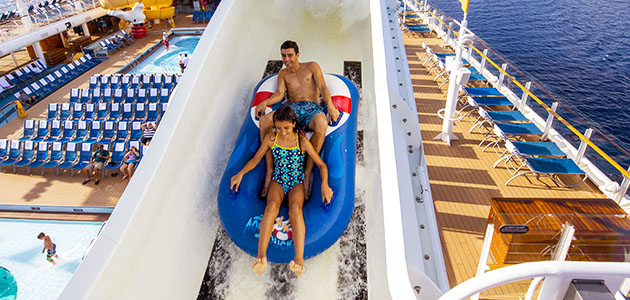 Slide off the side of the ship on AquaDuck!