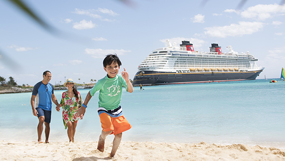 Enjoying the beach at Disney's Castaway Cay