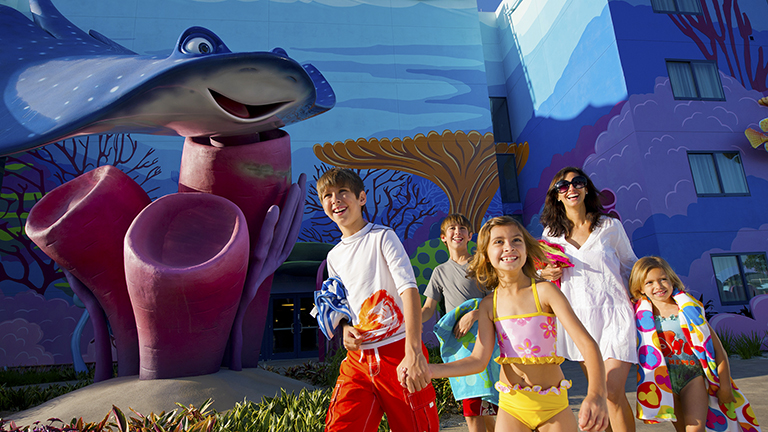 Family exploring Disney's Art of Animation Resort