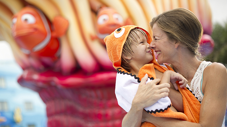 Mother and son smiling at Disney's Art of Animation Resort