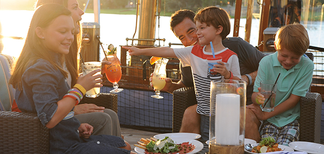 Family dining at the Boathouse in Disney Springs