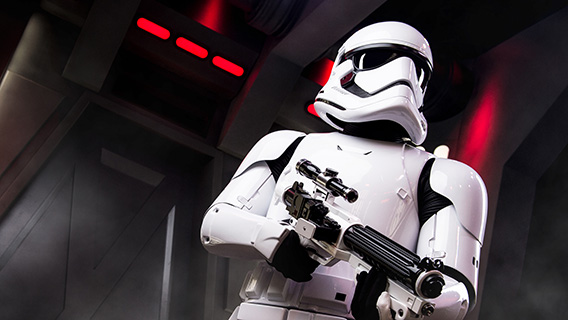 An armed Stormtrooper