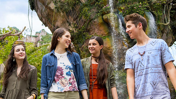 Teenagers walking in Pandora World of Avatar at Animal Kingdom Park